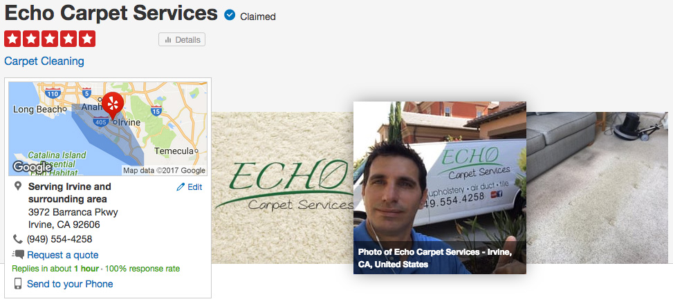 Echo Yelp Banner Echo Carpet Cleaning Highest Rated